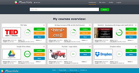 MoocNote.com dashboard